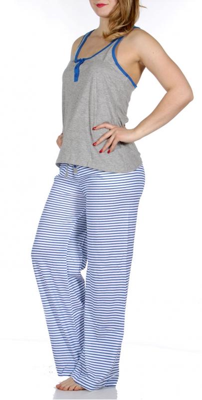 Wholesale F13 Solid tank & striped pants pj set Heather Grey