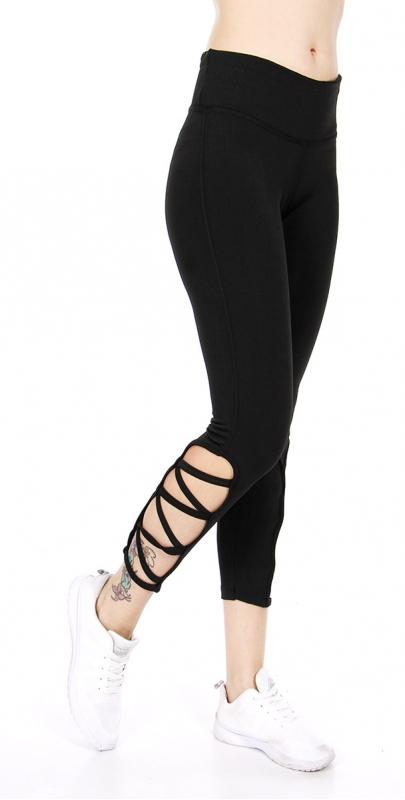 Wholesale C09A Zigzag lace side capri active leggings Black