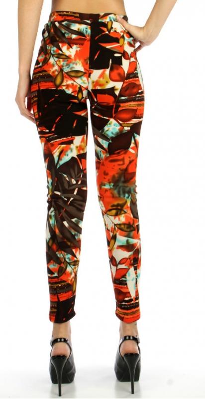 wholesale Q55 Colorful leaves cotton fur leggings