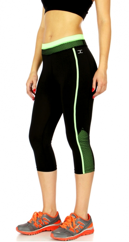 Wholesale WA00 Solid mesh detail capri pants N.Green