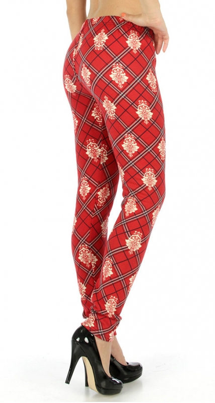 Wholesale H08 Damask plaid fur lined leggings BUR