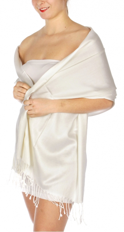 wholesale D36 Solid HD Wedding Pashmina 03 Ivory