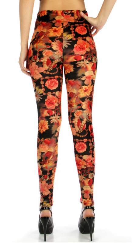 wholesale B21 Floral jewelery fur leggings Coral