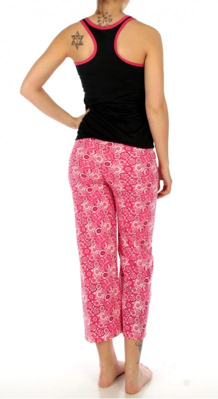 wholesale K52 Flower print cotton pajama set Pink