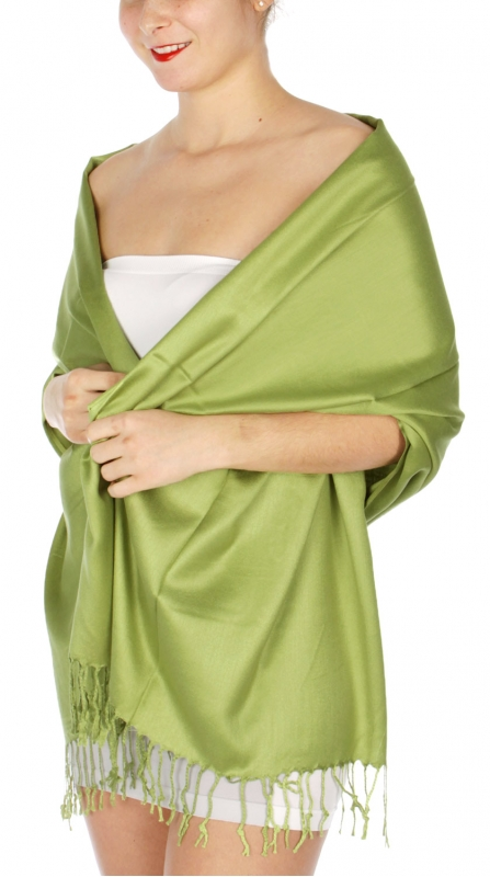 wholesale D36 Solid HD Wedding Pashmina 30 Bright Green