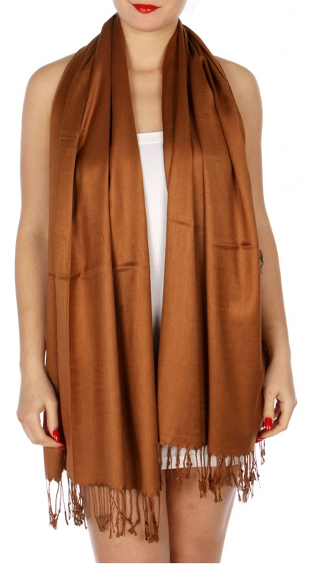 wholesale D36 Solid HD Wedding Pashmina 24 Brown