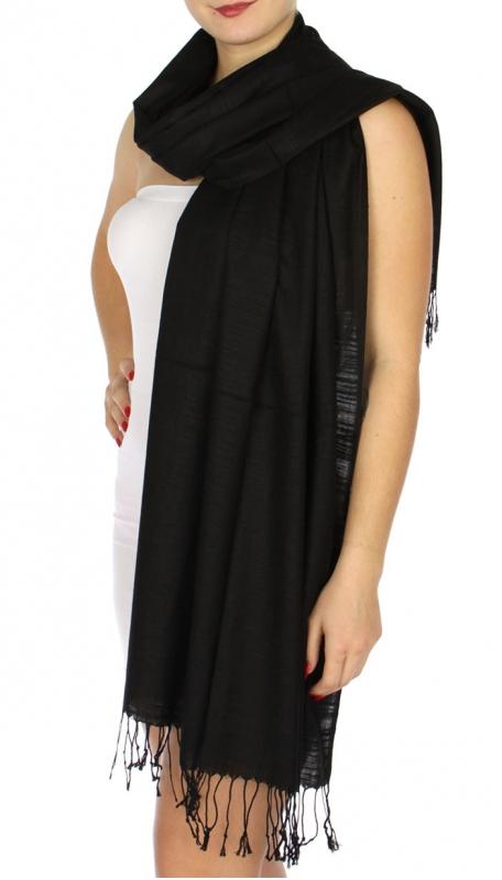 wholesale D01 Silky Light Wedding Pashmina 01 Black