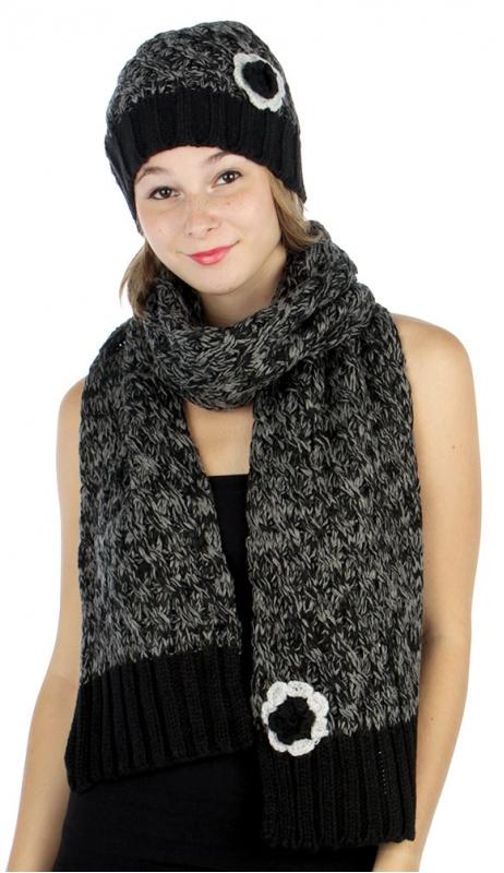 wholesale P08 2 tone Flower Knit scarf hat set BK