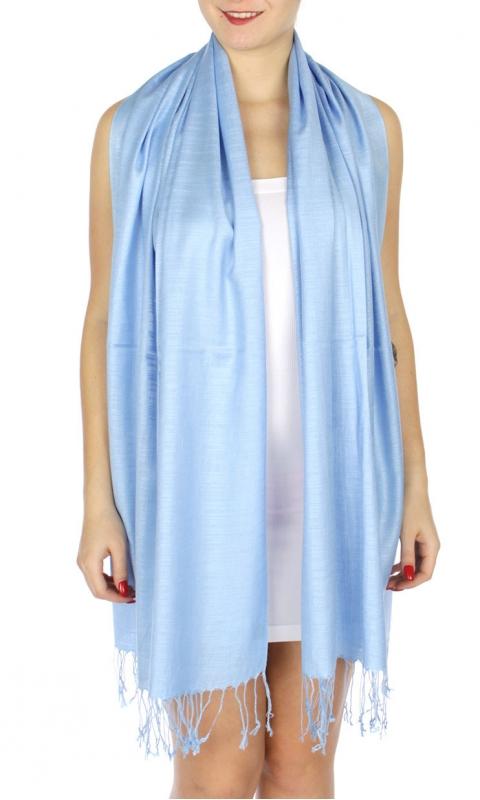 wholesale D01 Silky Light Wedding Pashmina 37 L S Blue