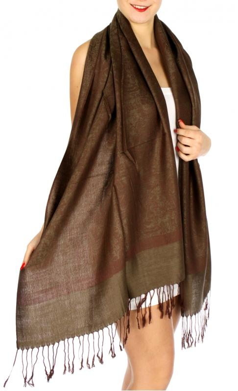 wholesale D33 Whole Jacquard Pashmina 59 Green Brown