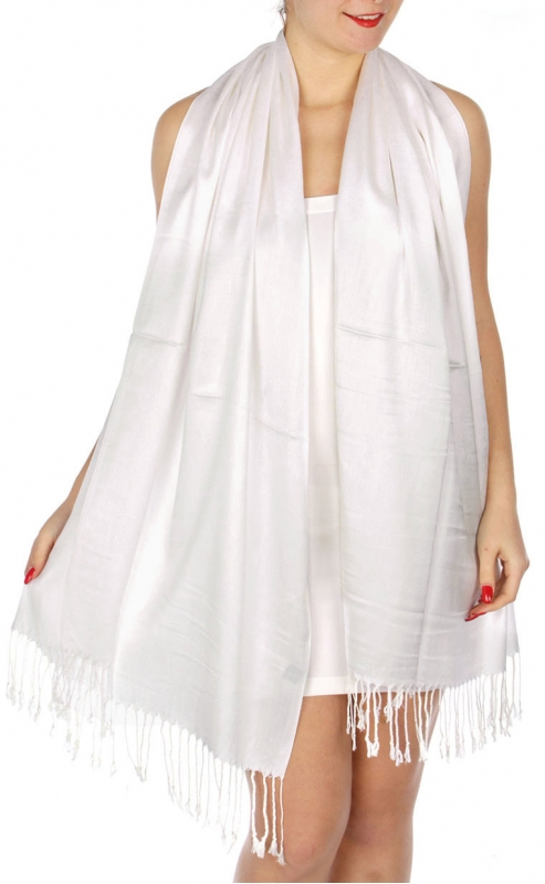 wholesale D36 Solid HD Wedding Pashmina 02 White