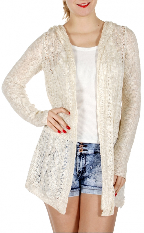 Wholesale J05A Hooded open knit cardigan Cream