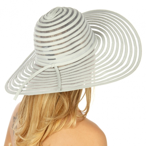 wholesale V16 Sheer stripe straw woven hat Gray