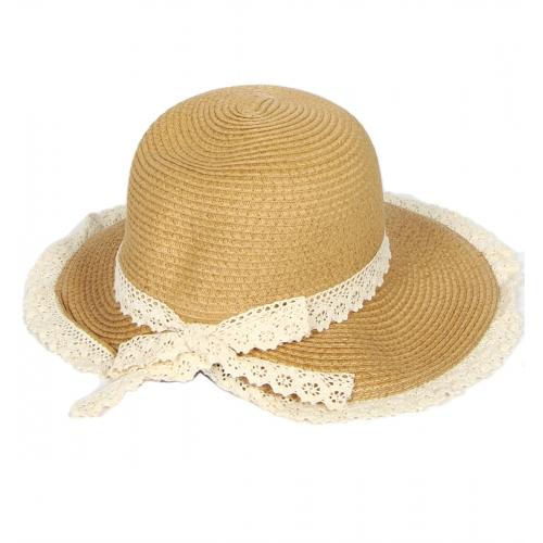 wholesale Pastel color paper woven hat lace trim Beige