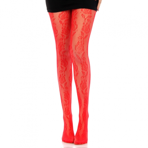 wholesale L71 linear flower red fishnet pantyhose