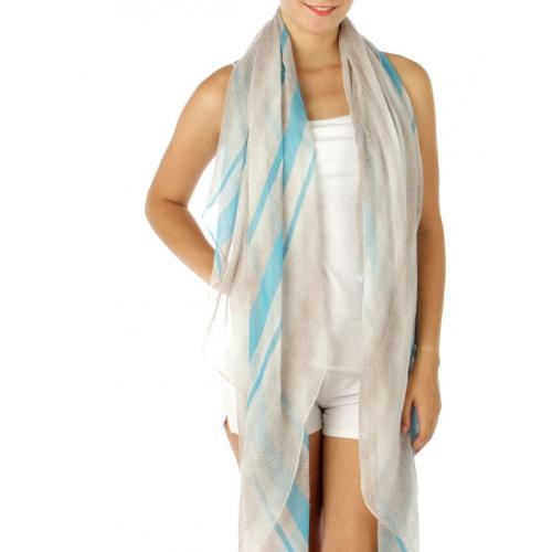 wholesale A01 Stripe N Animal skin print long Scarf Blue