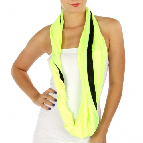 wholesale A01 Two tone color infinity scarf Yellow