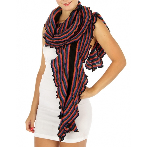 wholesale M03 Multicolor ruffle edge Scarf MD/WN