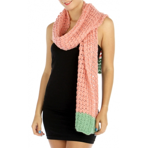 wholesale S61 Dual tone fluffy knit sequined scarf BK