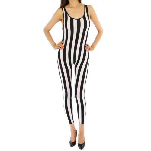 wholesale J32 Wide stripe pointe body suit BK/WH