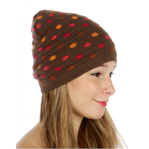 wholesale F12 Knit beanie multi color polka dots BR/OR