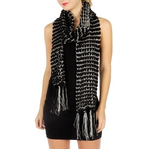 wholesale E07 Sequined lurex knot scarf BK fashionunic