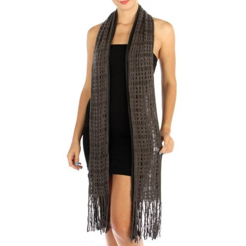 wholesale L37 Dual color pane knit skinny scarf BK