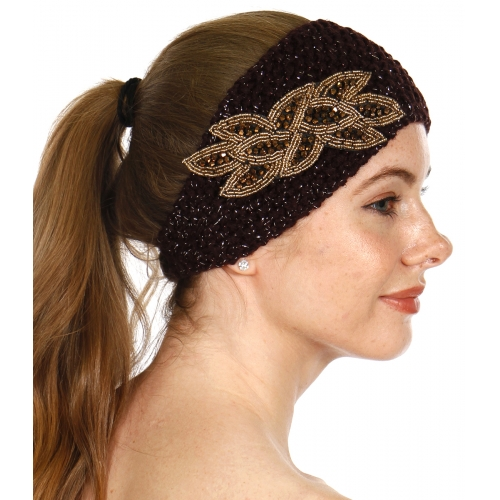 wholesale D18 Lurex knit ear warmers with beaded leaf Brown