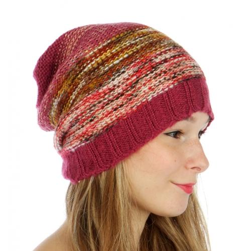 wholesale F14 Purl knit marled multi stripe beanie WN