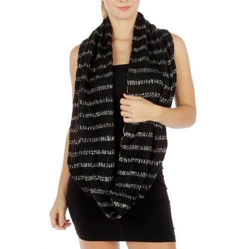 wholesale E13 knit infinity scarf silver stripe BK