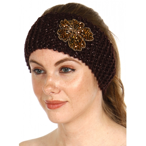 wholesale L24 Knit ear warmers with beaded clover embellishment Brown