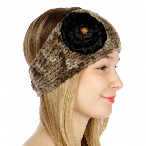 wholesale G21 Marled knit ear warmers with velvet flower Brown