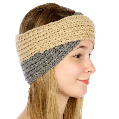 wholesale Turban style, two tone ear warmers Beige