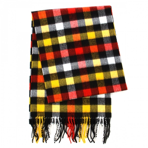 wholesale O71 Cashmere Feel Scarf 83801 Plaid Blue/Yellow
