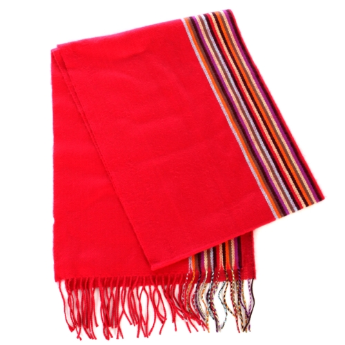 wholesale O63 Cashmere Feel Striped Scarf 92902 Hot Pink