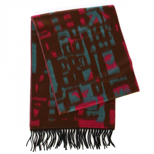 wholesale O59A Cashmere Feel square pattern scarf w/ fringe Blue Brown fashionunic