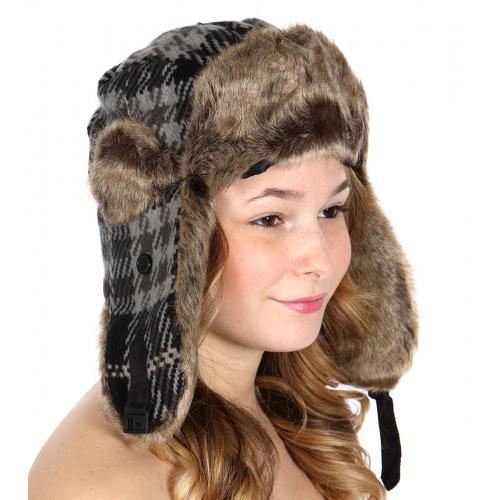 wholesale F16 Mixed plaid trapper hat Black/Grey