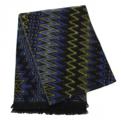 wholesale O67  Jacquard zigzag cashmere feel scarf Yellow/Blue