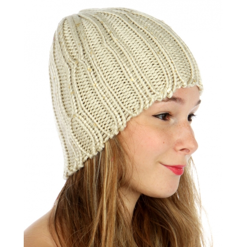 wholesale F01 Gold foil knit beanie Beige fashionunic