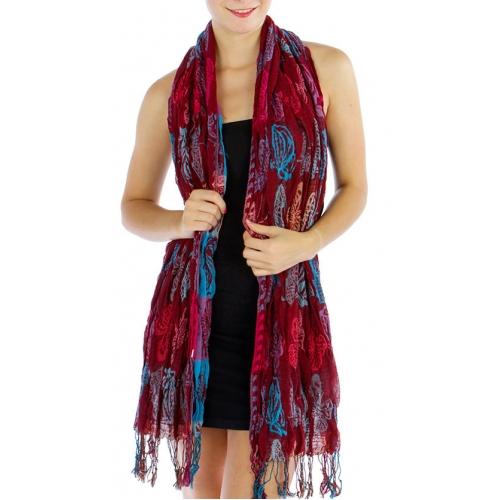wholesale S18 Ombre butterflies crinkle scarf BK