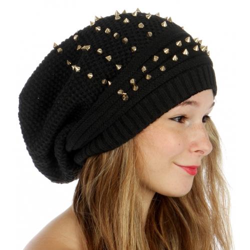 wholesale F08 Textured knit gold studs Black fashionunic
