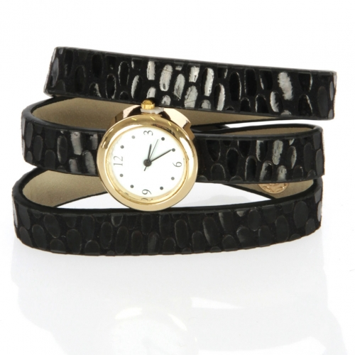wholesale I71 Three wrap long band fancy watch Black