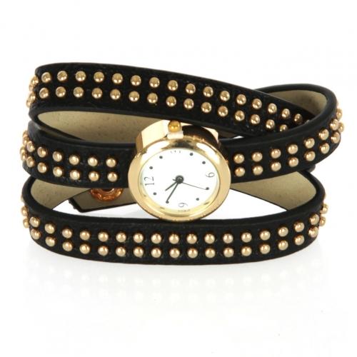 wholesale I71 2 Line round stud long bracelet watch Black
