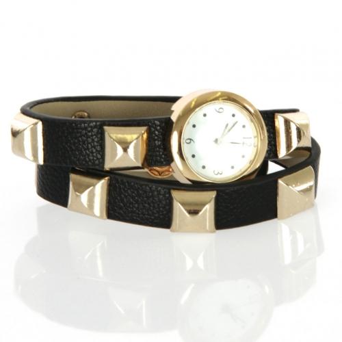 wholesale I71 Square punk stud long bracelet watch Black