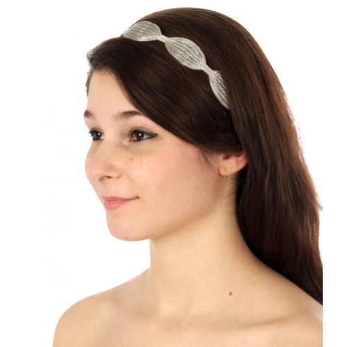 wholesale I71 Scalloped metal headband Rhodium