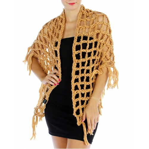 Wholesale O40 Knit net triangle shawl Beige fashionunic