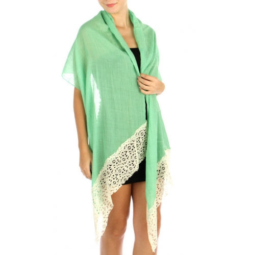 wholesale G06 Cotton blend lace scarf Green fashionunic