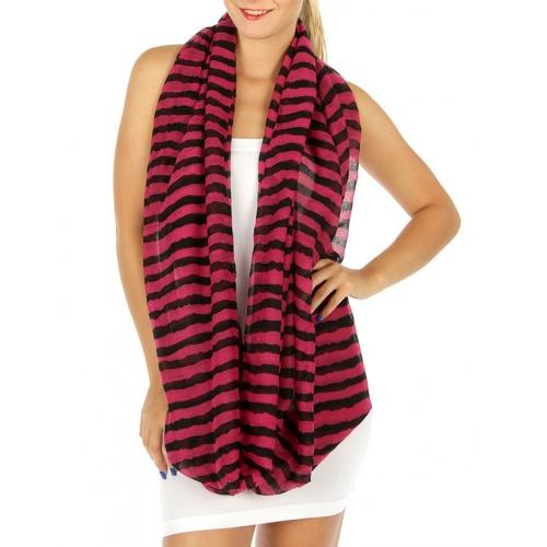 wholesale C07 Striped infinity scarf Purple/Black