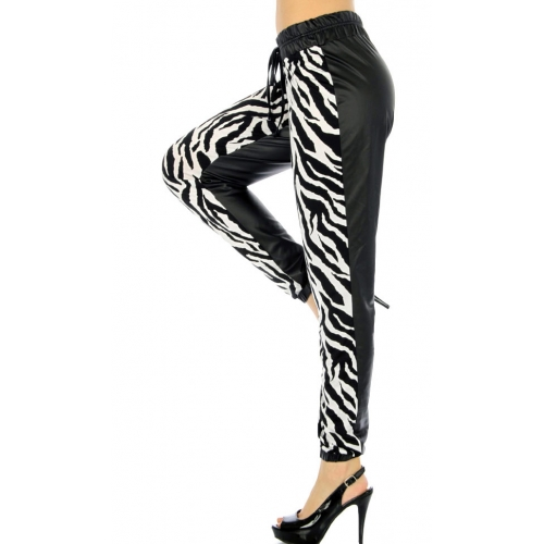 J06 Wholesale Zebra faux lether joggers fashionunic