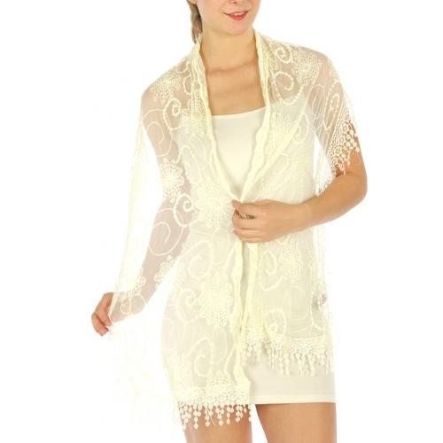 wholesale E03 Lace fringe cotton mesh scarf Ivory